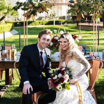 Metallic Copper Wedding Inspiration With A Creative Hexagon Altar – Allie Marion 16