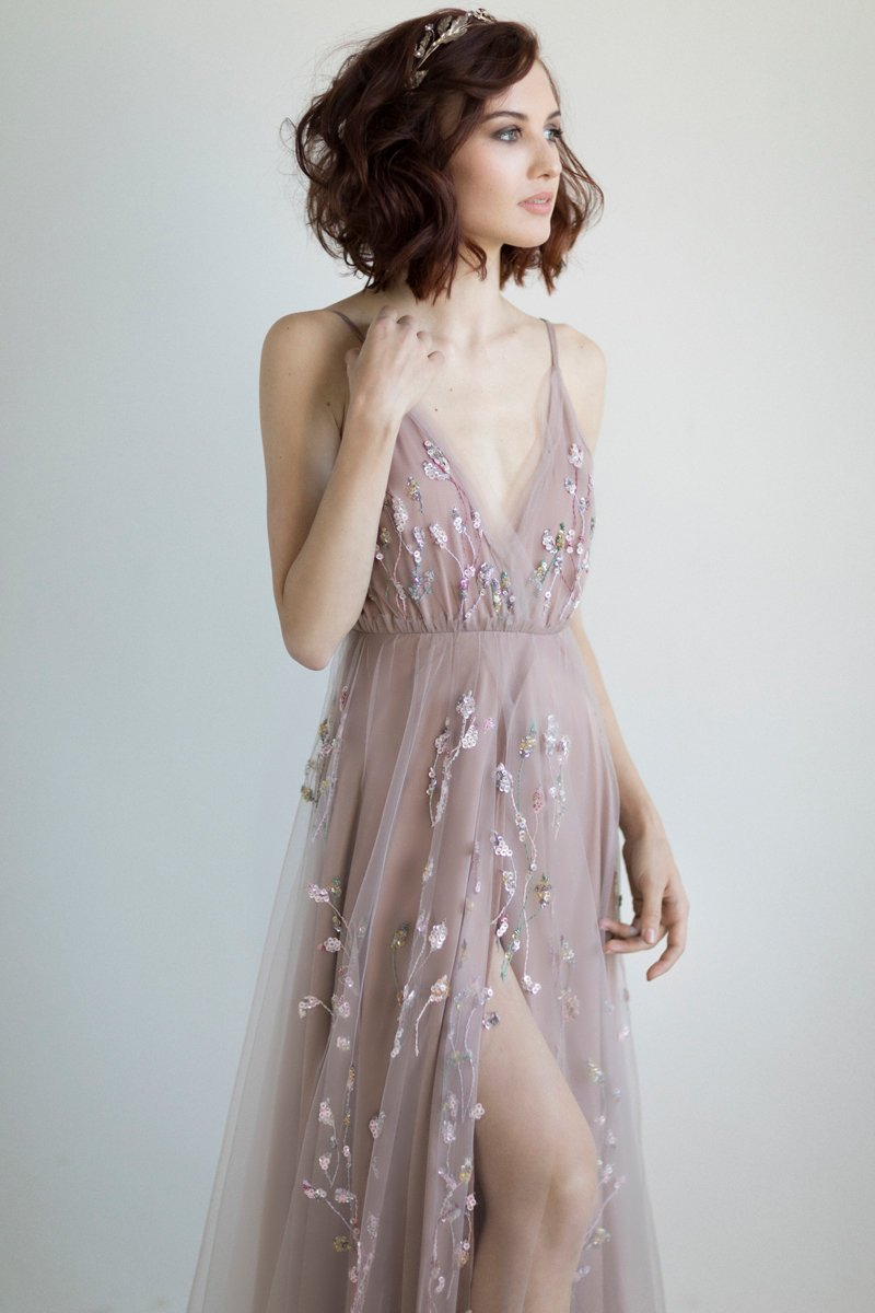 Romantic wedding dresses for the bride who wants subtle color (on Etsy!)