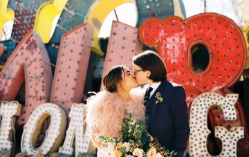 An Ode To Elvis & Priscilla; Vintage Vegas Wedding At The Neon Museum