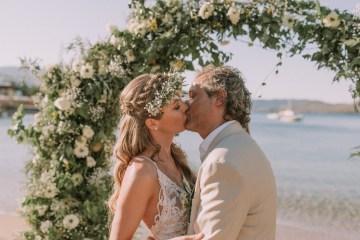 Boho Greek Island Wedding Featuring A Circle Floral Arch – Paulina Weddings 37
