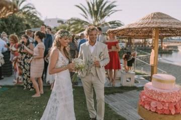 Boho Greek Island Wedding Featuring A Circle Floral Arch – Paulina Weddings 38