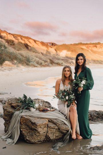 Romantic Same Sex Beach Elopement Inspiration in Earth Tones – Kalon Weddings Photography – Chloe Nicole Weddings 19