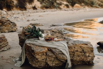 Romantic Same Sex Beach Elopement Inspiration in Earth Tones – Kalon Weddings Photography – Chloe Nicole Weddings 2
