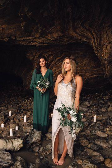 Romantic Same Sex Beach Elopement Inspiration in Earth Tones – Kalon Weddings Photography – Chloe Nicole Weddings 32