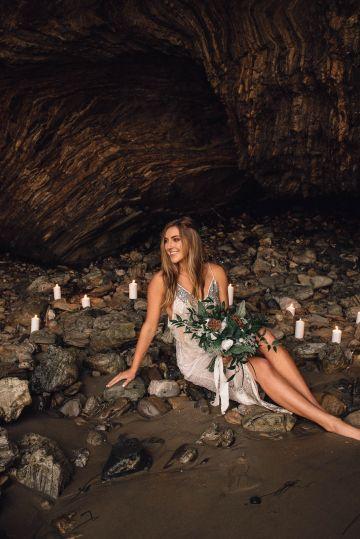 Romantic Same Sex Beach Elopement Inspiration in Earth Tones – Kalon Weddings Photography – Chloe Nicole Weddings 37