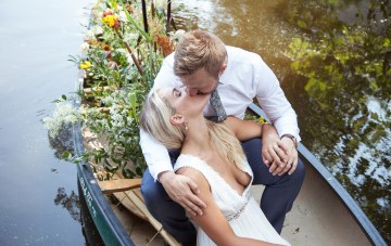 Wildflower Elopement In The Middle Of A Lake