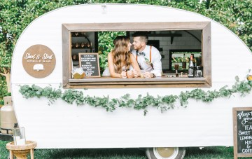 Eclectic Farm Wedding With A Donut Wall & Bar Cart