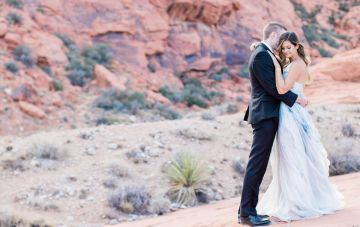 Red Rock Desert Romance With A Whimsical Blue Wedding Dress