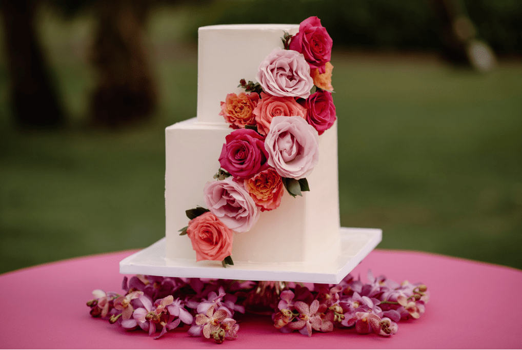 Square Wedding Cake with Red & Pink Roses