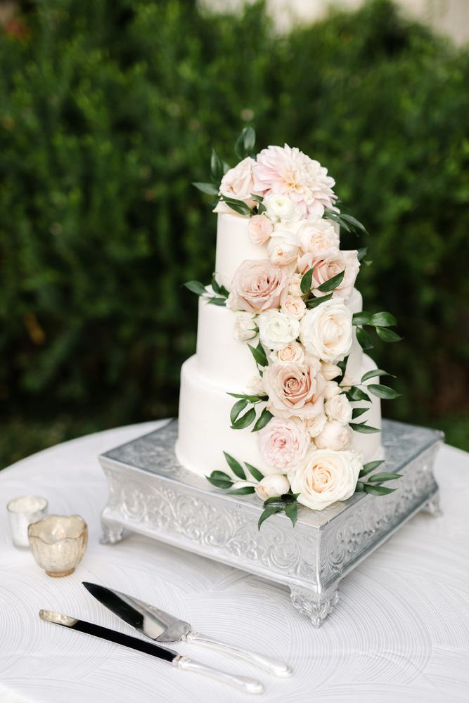 Classic White Wedding Cake with Florals