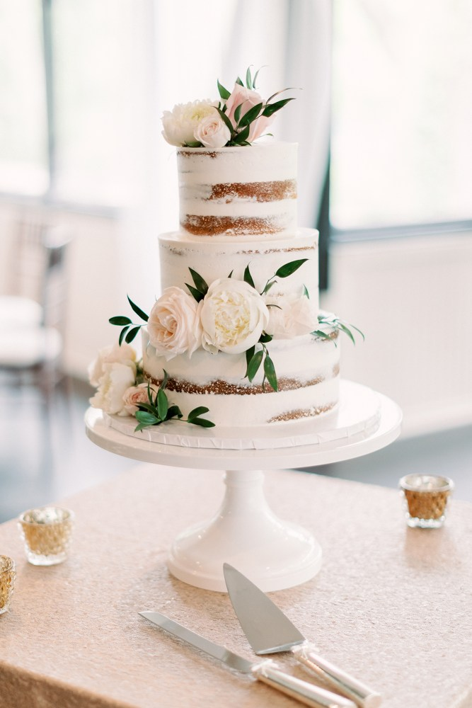Naked Wedding Cake with Blush Florals