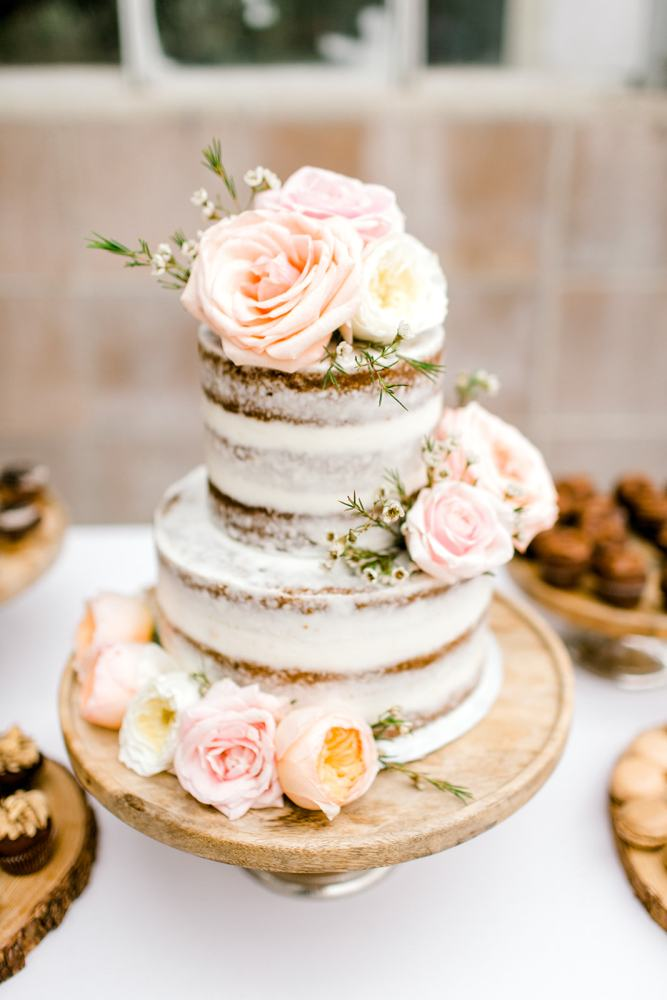 Naked Wedding Cake with Mini Botanicals & Flowers