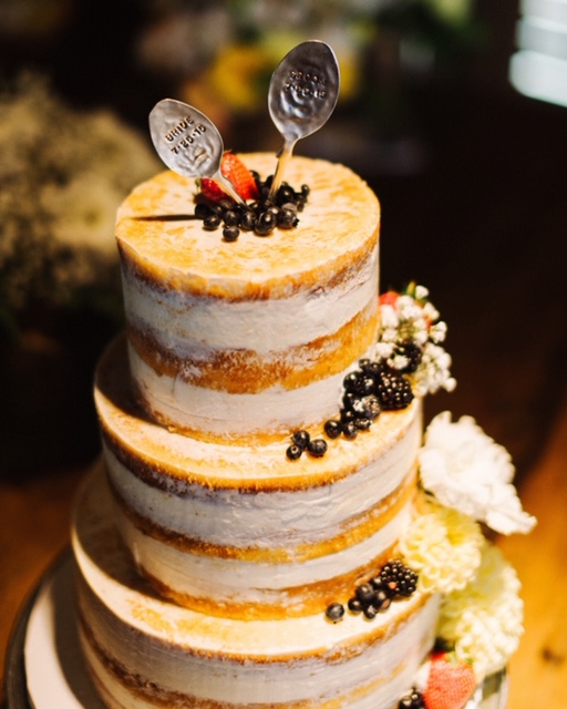 Naked Wedding Cake with Berries & Spoon Cake Toppers