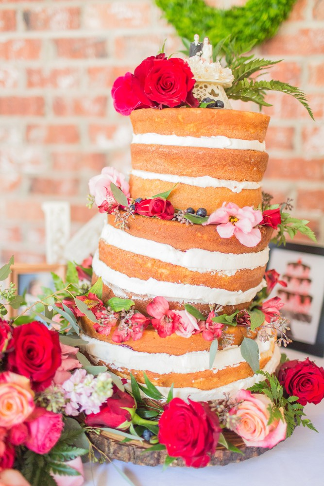 Tilted Tall Naked Cake with Pink & Red Florals