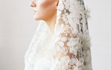 Best Websites to Buy Veils and Bridal Accessories Online- Sibo Designs- Modern Couture Ivory Lace Mantilla Wedding Veil