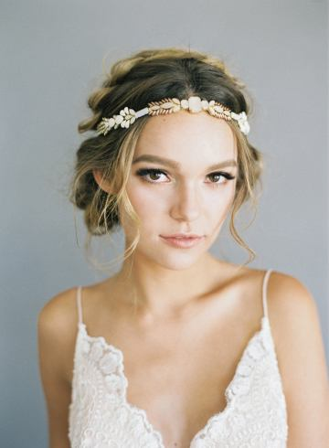 Where to Buy Bridal Veils and Accessories – Hushed Commotion – Ombre Blush Beaded Wedding Headband