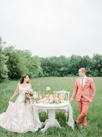 Whimsical Pantone Living Coral Colorful Meadow Wedding Inspiration – Kira Nicole Photography 35