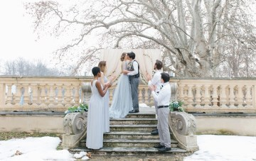 Winter Wedding Ideas Featuring A Blue Wedding Dress