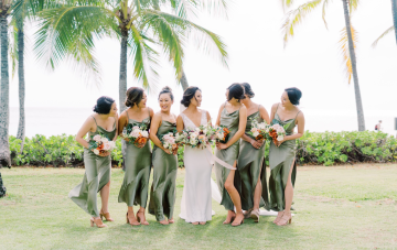 Elegant Moss Green Hawaiian Destination Wedding