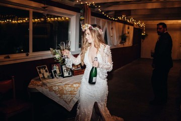 Pacific Northwest Rock and Roll Beach Wedding at The Funky Souwester Lodge – Claire Eliza Wedding Photography – Christina Castello and Drew Pull – Alexandra Grecco Dylan Gown 19