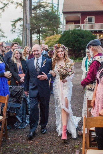 Pacific Northwest Rock and Roll Beach Wedding at The Funky Souwester Lodge – Claire Eliza Wedding Photography – Christina Castello and Drew Pull – Alexandra Grecco Dylan Gown 46