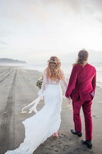 Pacific Northwest Rock and Roll Beach Wedding at The Funky Souwester Lodge – Claire Eliza Wedding Photography – Christina Castello and Drew Pull – Alexandra Grecco Dylan Gown 50