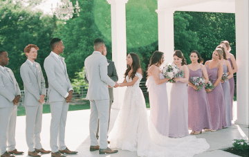 A Quaint Countryside Wedding Dressed In Lilac