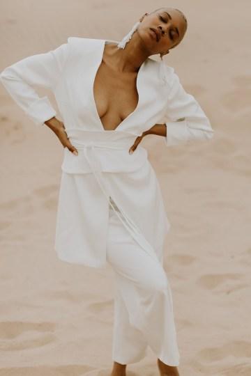 Modern and Fashion Forward 2021 Wedding Dresses by The LAW Bridal – Ezra Suit + Logan Belt