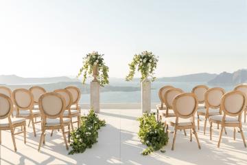 Pale Blue Greek Micro Wedding on the Cliffs of Santorini – Kimonas Photography 61