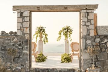 Pale Blue Greek Micro Wedding on the Cliffs of Santorini – Kimonas Photography 62