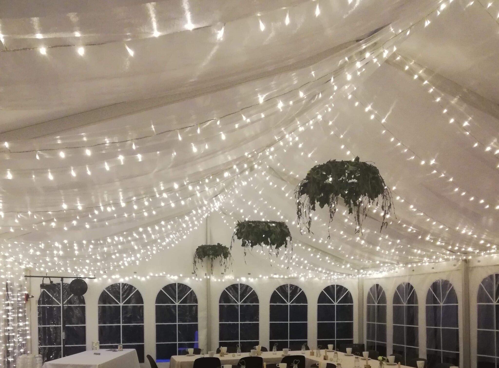 lyskæder i telt fra Din havefest