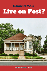 """a pin showing a home stating """"should you live on post?"""""""