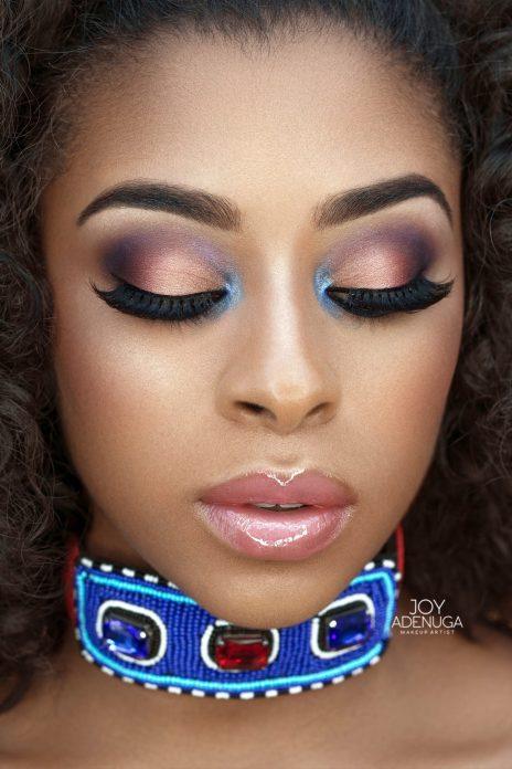 milan lovelle, Miss barbados uk, Joy Adenuga, bridal beauty inspiration, london makeup artist for dark skin, purple and pink bridal makeup look