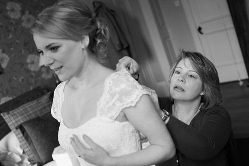 Laura dressing bride