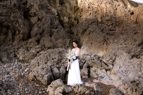 A Contemporary Coastal Bridal Shoot at Marsden Rock (c) Leanne Elizabeth Photography (10)
