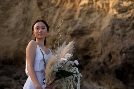 A Contemporary Coastal Bridal Shoot at Marsden Rock (c) Leanne Elizabeth Photography (12)