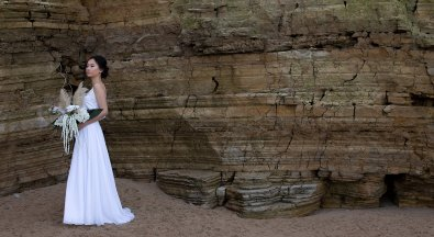 A Contemporary Coastal Bridal Shoot at Marsden Rock (c) Leanne Elizabeth Photography (2)