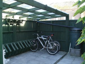Covered cycle park for 17 bicycles with CCTV and wash-down facilities