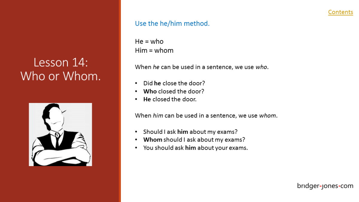 Practical English Usage Lesson 14 who or whom bridger-jones.com