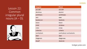 Practical English. Lesson 22: Common irregular plural nouns (A-D)