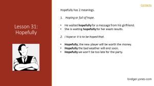 Practical English Usage Lesson 31 - Hopefully