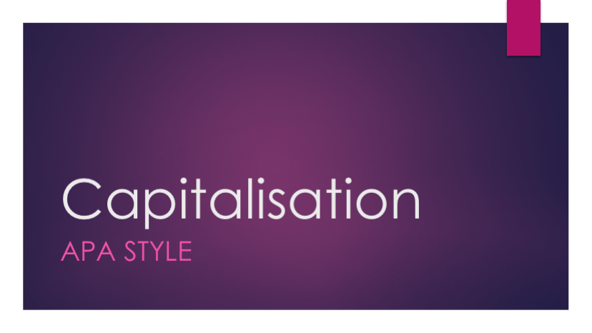 Capitalisation in APA