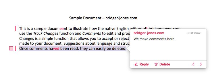 Sample of bridger jones editing and proofreading using Apple Pages