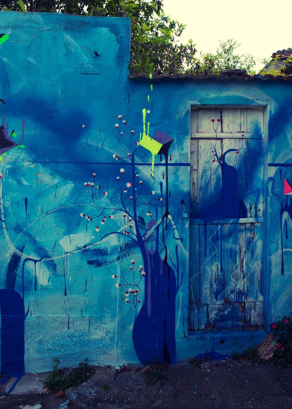 Abstract blueness graffiti Sao Paulo