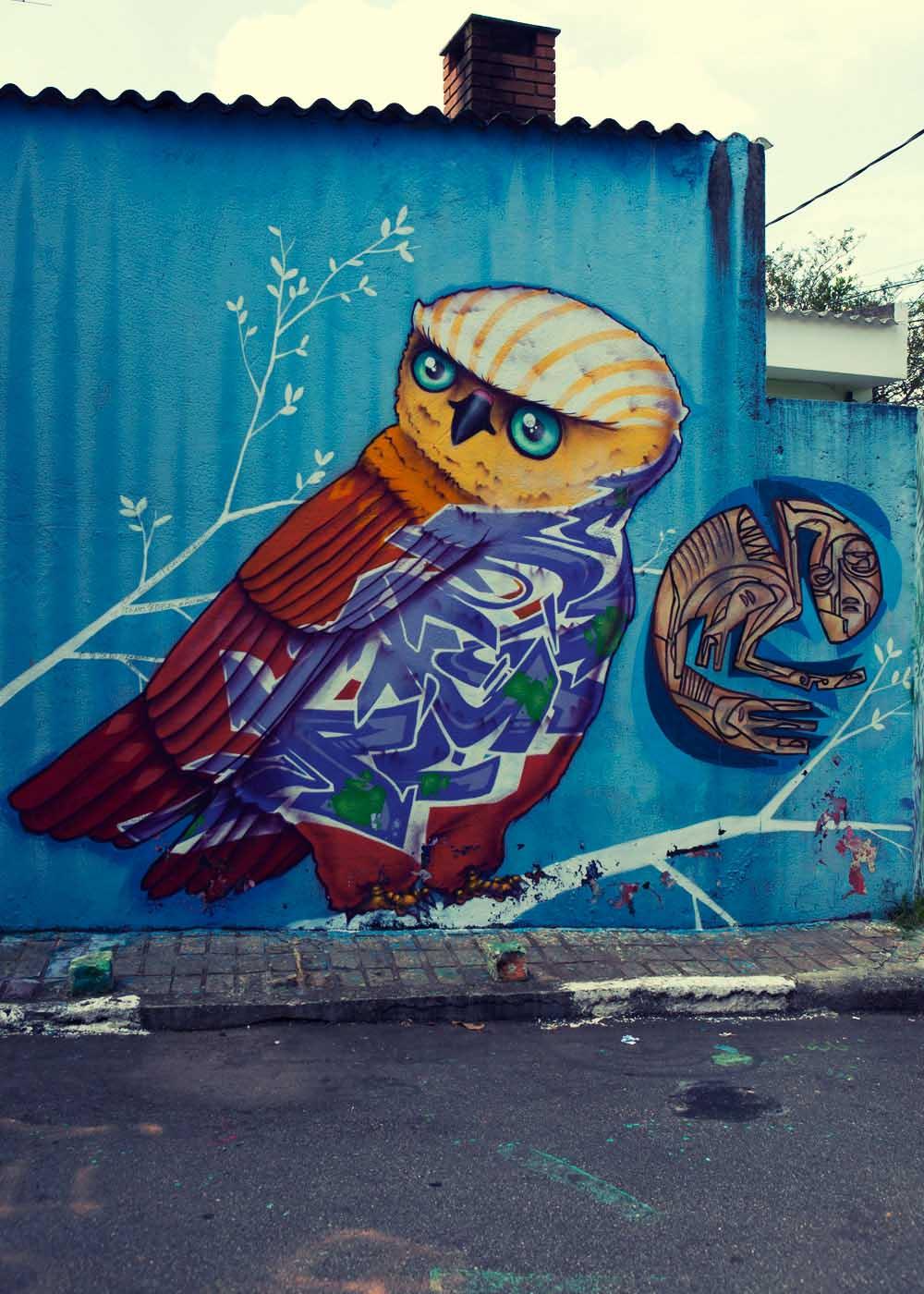 Cosmic owl graffiti Sao Paulo