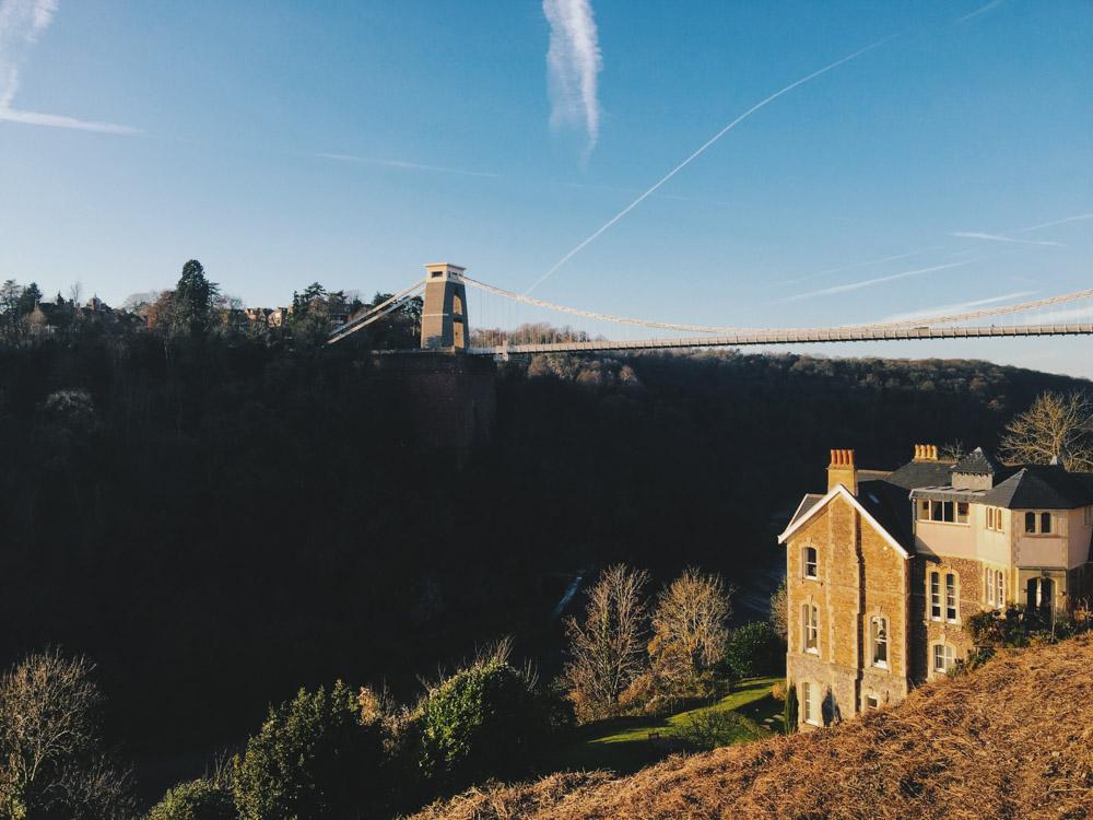 Clifton suspension bridge, Bristol, winter sunshine