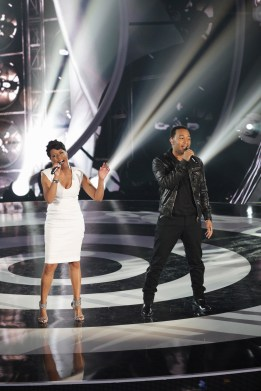 """DUETS - """"Songs from the 2000's"""" - It was the first LIVE show, and Superstars Kelly Clarkson, John Legend, Jennifer Nettles and Robin Thicke took the stage with their remaining Duet partners and performed their favorite songs from this millennium. At the end, the polls opened and America got to choose who stays in the competition and who is sent home. Hosted by Quddus, the series is a one-of a kind singing competition that takes the Superstars out from behind the judges' panel and onto the stage, on """"Duets,"""" THURSDAY, JUNE 28 (8:00-9:00 p.m., ET) on the ABC Television Network.  (ABC/KELSEY MCNEAL)BRIDGET CARRINGTON, JOHN LEGEND"""