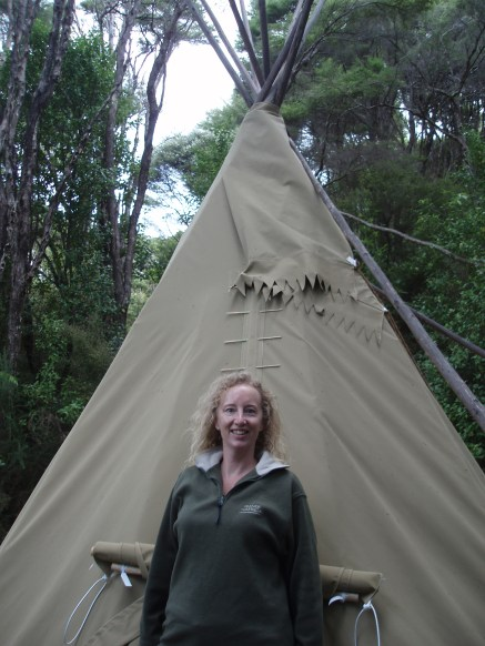 Camping out in Raglan in a Teepee