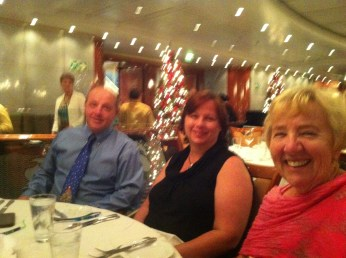 Tim, Teresa and Inga enjoying our last dinner on board