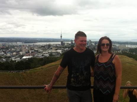Dan and Courtney on top of Mt Eden